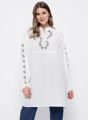 White - Ecru - V neck Collar - Viscose - Plus Size Tunic