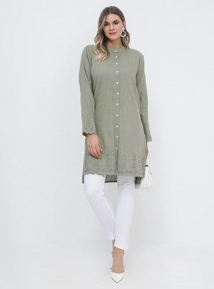 Khaki - Button Collar - Cotton - Plus Size Tunic