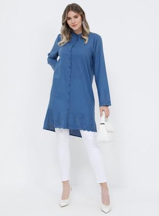 Blue - Indigo - Button Collar - Cotton - Plus Size Tunic