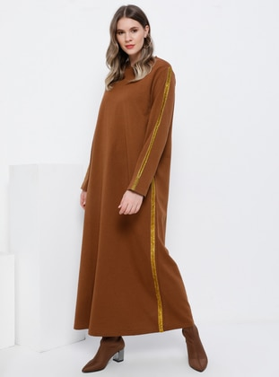 Brown - Unlined - Crew neck - Cotton - Plus Size Dress