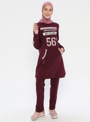 Plum - Crew neck - Tracksuit Set