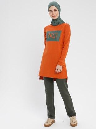 Orange - Cotton - Crew neck - Tracksuit Set