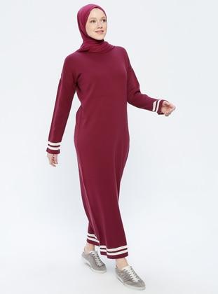 Beige - Plum - Stripe - Crew neck - Unlined - Acrylic -  - Dress