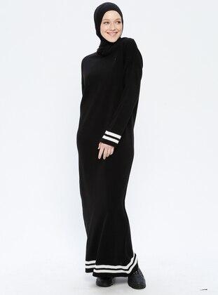 Black - Beige - Stripe - Crew neck - Unlined - Acrylic -  - Dress