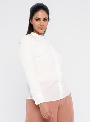White - White - Ecru - Polo neck - Plus Size Blouse - Picolina