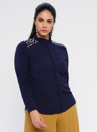Navy Blue - Polo neck - Plus Size Blouse