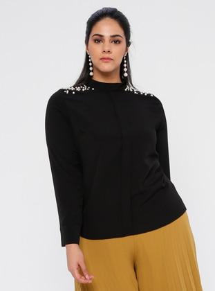 Black - Black - Polo neck - Plus Size Blouse