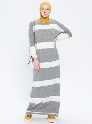 Gray - Ecru - Stripe - Crew neck - Unlined - Acrylic -  - Dress