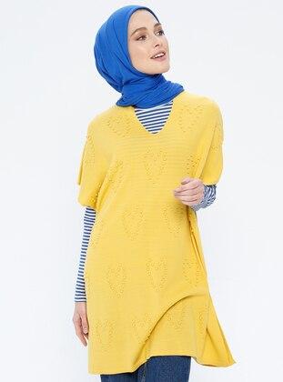 Mustard - Heart Print - Crew neck - Acrylic -  - Tunic