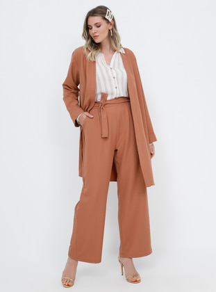 Camel -  - Unlined - Plus Size Suit