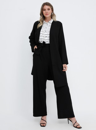 Black - Unlined - Plus Size Suit - Alia