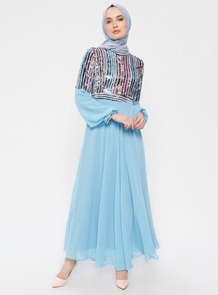 1e67222b02f Bleu - Tissu doublé - Col rond - Robe de soirée