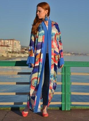 Blue - Multi - Shawl Collar - Chiffon - Abaya
