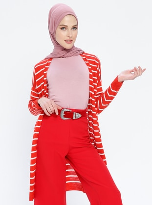 Ecru - Terra Cotta - Stripe - Shawl Collar - Acrylic -  - Cardigan