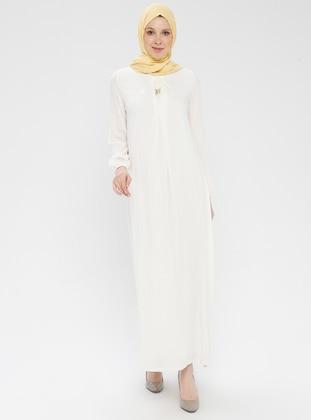 White - Ecru - Crew neck - Unlined - Viscose - Dress