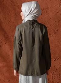Khaki - Polo neck - Viscose - Blouses