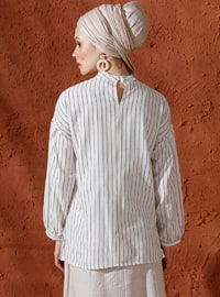 Gray - Ecru - Stripe - Polo neck - Viscose - Blouses