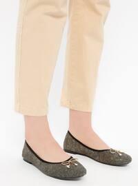 Gold - Khaki - Flat - Flat Shoes
