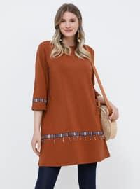 Tan - Crew neck - Cotton - Plus Size Tunic