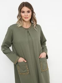 Khaki - Crew neck - Unlined - Cotton - Plus Size Suit