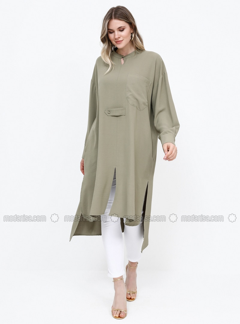 Khaki - Button Collar - Plus Size Tunic