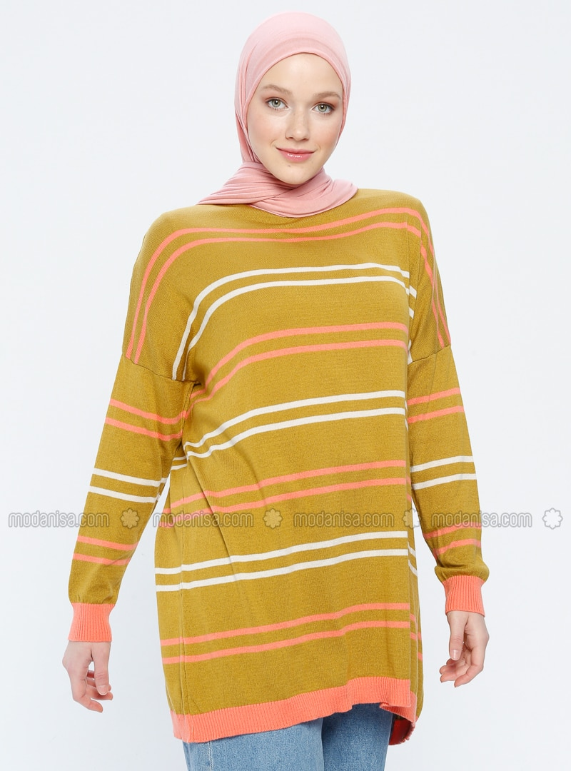 Orange - Beige - Olive Green - Stripe - Crew neck - Acrylic -  - Tunic