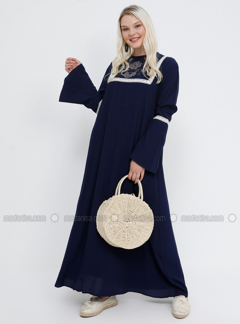 Blue - Navy Blue - Indigo - Unlined - Crew neck - Viscose - Plus Size Dress