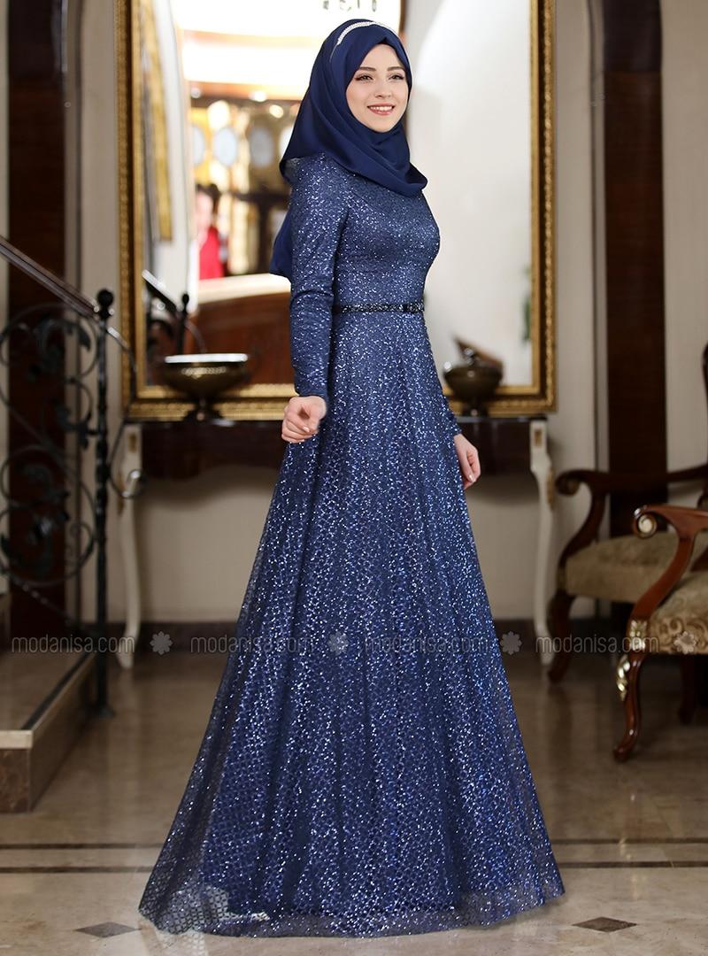 fd0b099fb928d Navy Blue - Unlined - Crew neck - Muslim Evening Dress. Fotoğrafı büyütmek  için tıklayın