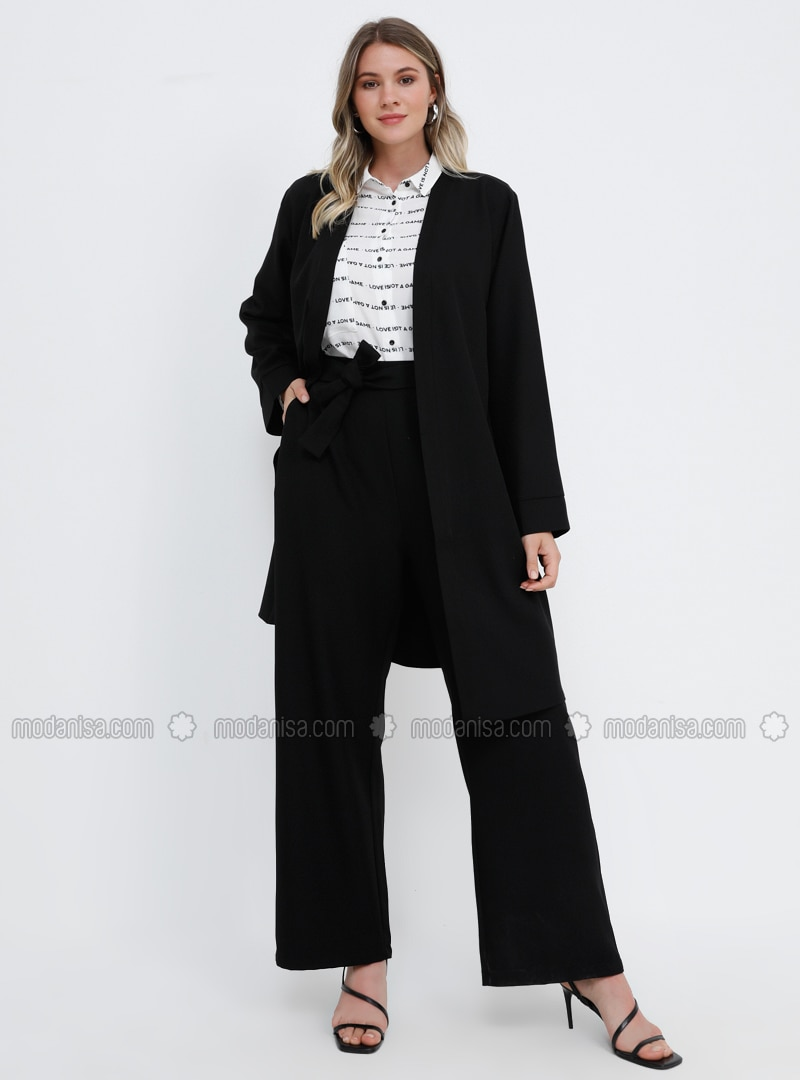 Black - Unlined - Plus Size Suit