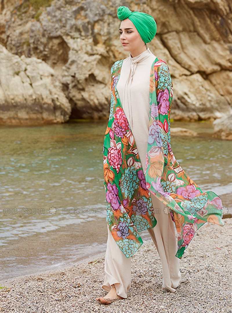 Green - Floral - Unlined - Shawl Collar - Chiffon - Abaya