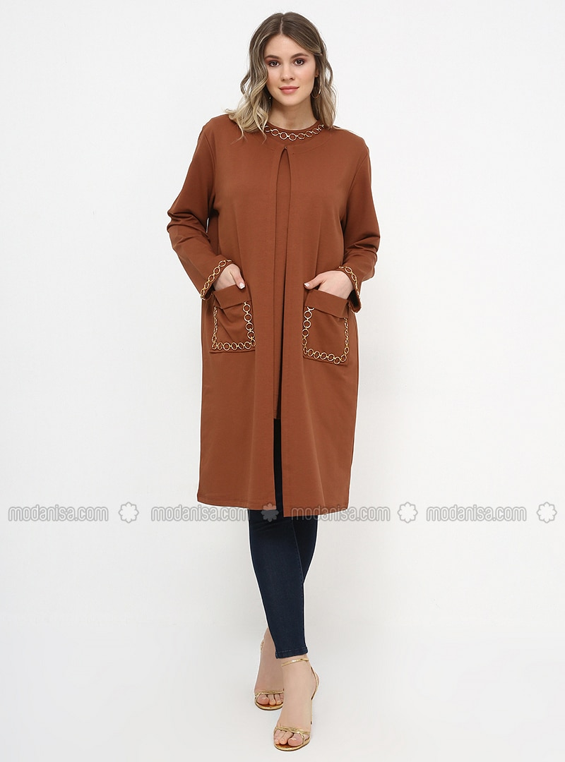 Tan - Crew neck - Unlined - Cotton - Plus Size Suit