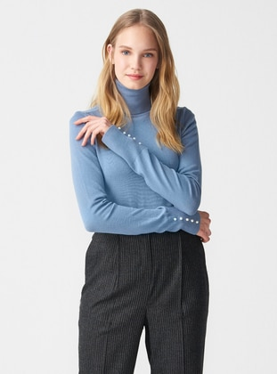 Blue - Polo neck -  - Jumper