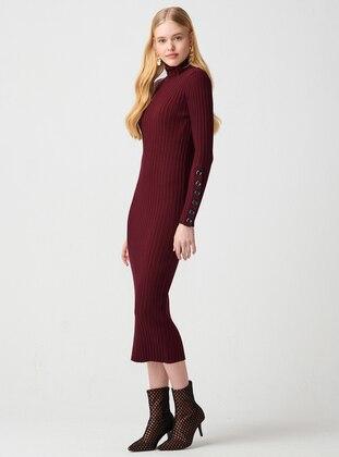 Maroon - Polo neck - Unlined - Acrylic - Dress