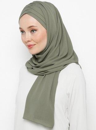 Green - Khaki - Plain - Instant Scarf