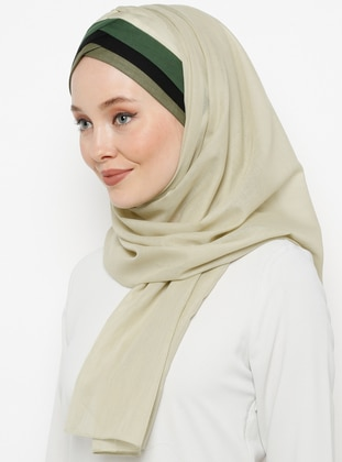Green - Plain - Cotton - Instant Scarf