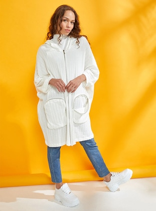 White - Unlined - Cotton - Poncho