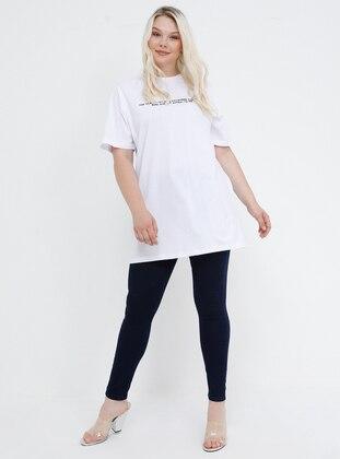 Blue - Navy Blue - Cotton - Plus Size Pants
