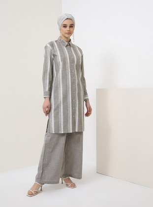 Khaki - Stripe - Point Collar - Cotton - Tunic