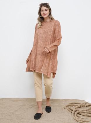 Tan - Crew neck - Cotton - Plus Size Tunic - Alia