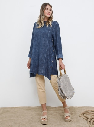 Navy Blue - Crew neck - Cotton - Plus Size Tunic - Alia