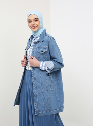 Blue - Unlined - Point Collar - Cotton - Denim - Jacket - Benin