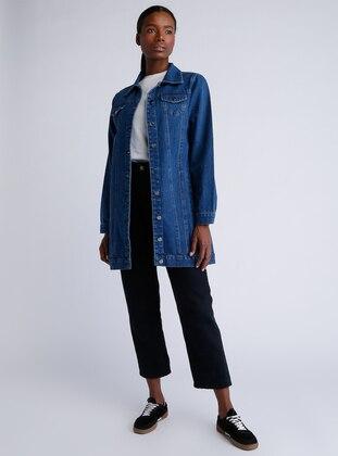 Blue - Navy Blue - Unlined - Point Collar - Cotton - Denim - Jacket