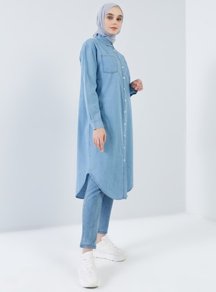Blue - Point Collar - Cotton - Denim - Tunic - Benin
