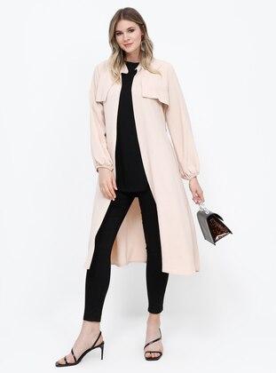 Beige -  - Unlined - Plus Size Coat