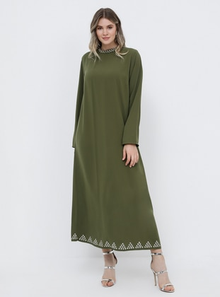Khaki - Unlined - Polo neck - Muslim Plus Size Evening Dress - Alia