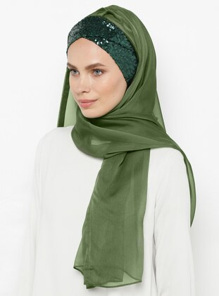 Green - Khaki - Plain - Pinless - Silk Blend - Instant Scarf