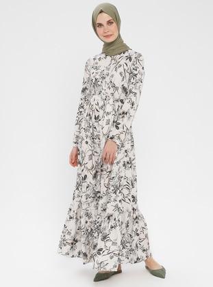 Ecru - Khaki - Floral - Button Collar - Unlined - Dress
