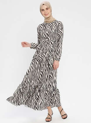 Black - Ecru - Zebra - Button Collar - Unlined - Dress