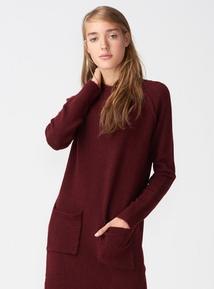 Maroon - Polo neck - Acrylic -  - Tunic