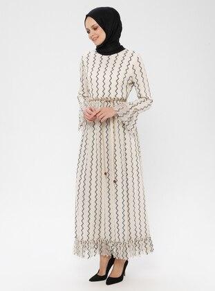 Ecru - Geometric - Stripe - Crew neck - Fully Lined - Dress